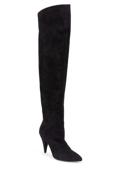 Saint Laurent - Cat Black Suede Over-The-Knee Boot, 90mm