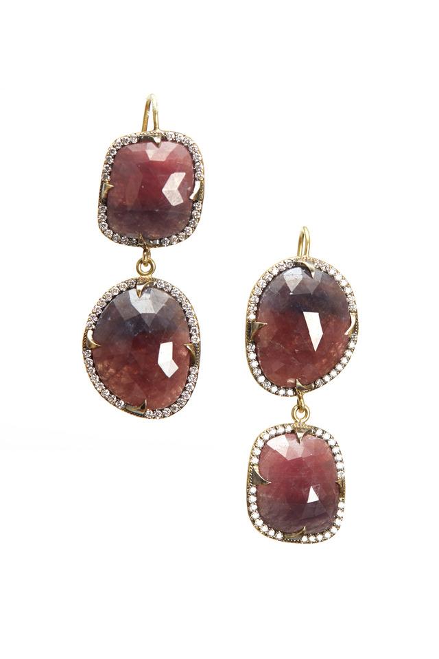 Yellow Gold Ruby Slice Diamond Earrings
