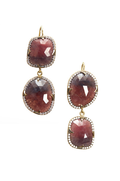 Sylva & Cie - Yellow Gold Ruby Slice Diamond Earrings