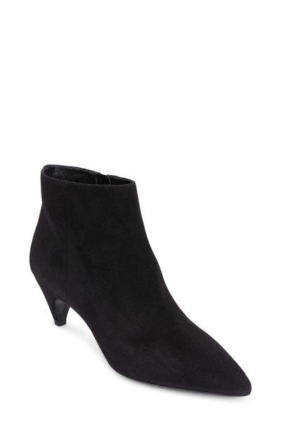 Prada - Comma Black Suede Curved Heel Bootie, 55mm