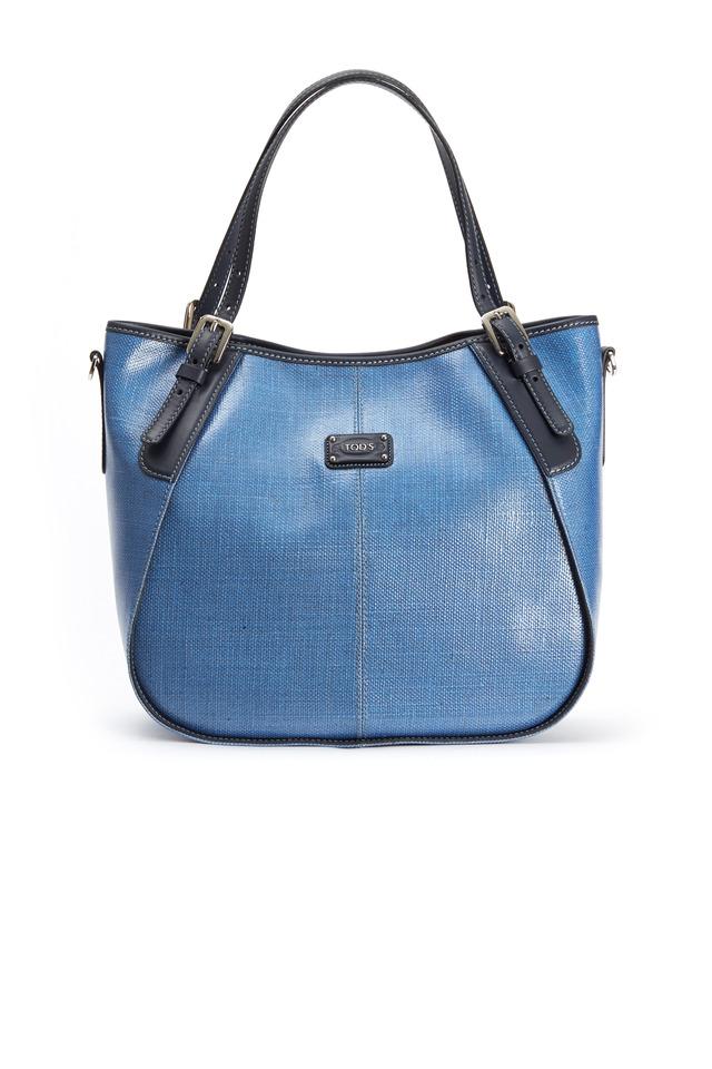 Light Blue Coated Linen Leather Trim Handbag