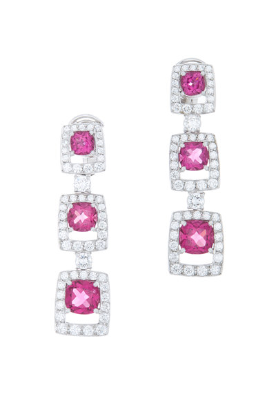 Eclat - Platinum Rubelite & Diamond Drop Earrings