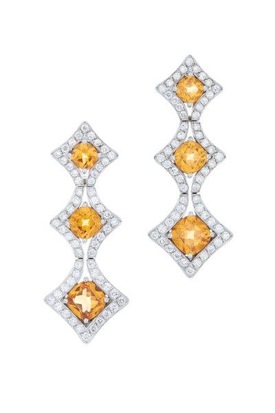 Eclat - Platinum Mandarin Garnet Diamond Earrings