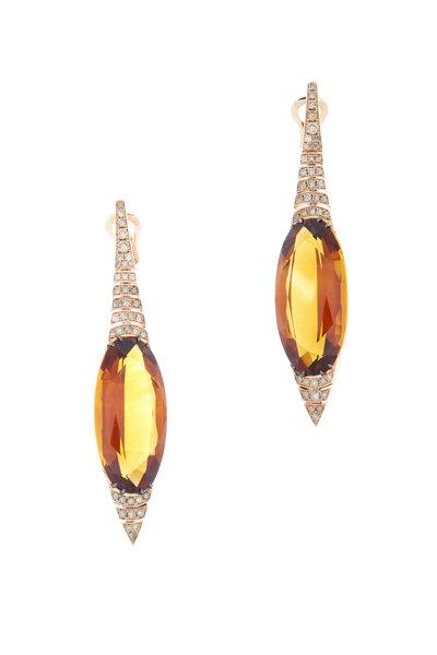 Eclat - 18K Rose Gold Citrine & Diamond Drop Earrings