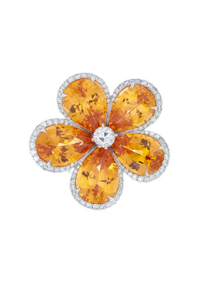 Eclat - Platinum Spessartite Garnet & Diamond Flower Ring