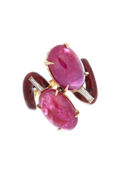 Eclat - Yellow Gold Ruby Diamond Cocktail Ring