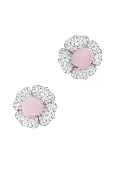 Eclat - Platinum & Gold Conch Pearl Ruby Diamond Earrings