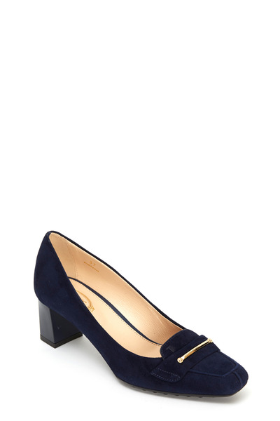 Tod's - Lingot Navy Blue Suede Pump, 55mm
