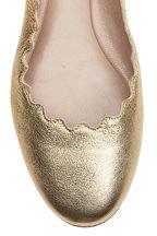 Chloé - Lauren Gold Metallic Leather Scallop Ballet Flat