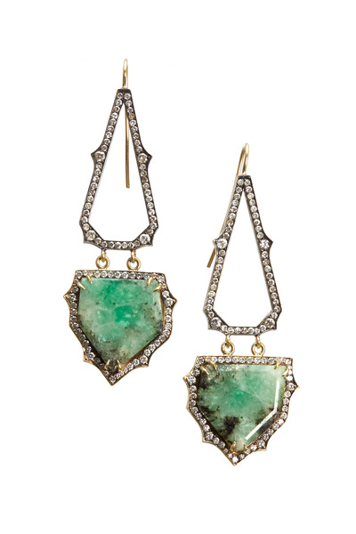 Sylva & Cie - 18K Yellow Gold Emerald & Diamond Drop Earrings