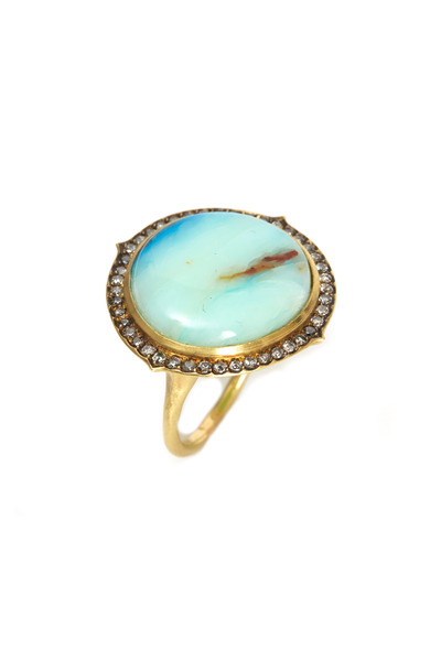 Sylva & Cie - Gold Peruvian Opal Diamond Cocktail Ring