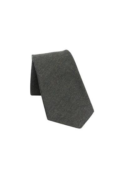 Kiton - Solid Olive Green Wool, Silk & Cashmere Necktie