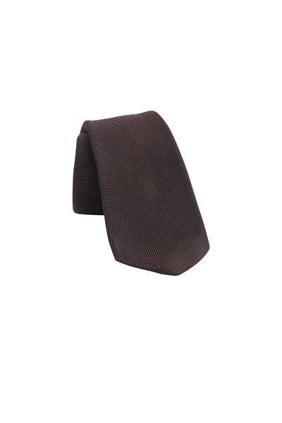 Kiton - Solid Brown Silk Necktie