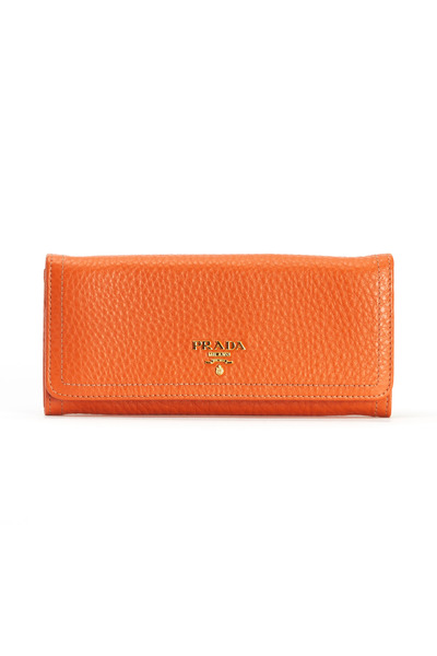 Prada - Orange Pebble Leather Wallet