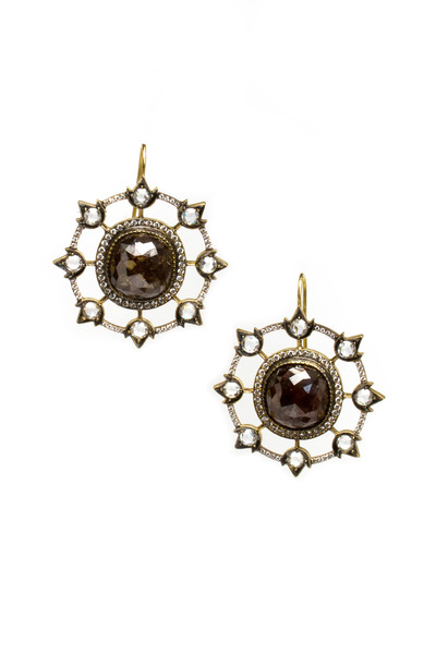 Sylva & Cie - Gold Diamond Webb Earrings