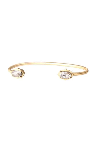 Sylva & Cie - Yellow Gold Rough Diamond Cuff Bracelet