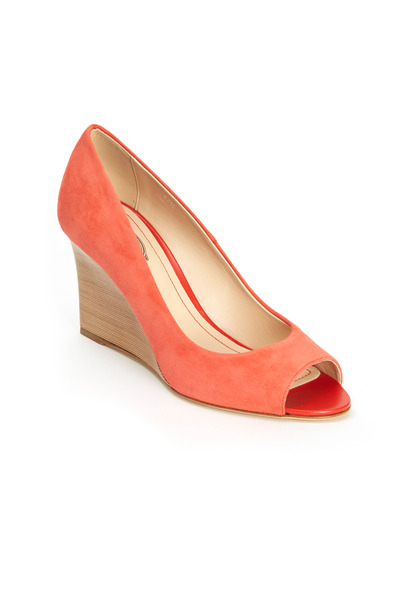 Tod's - Coral Suede Peep-Toe Wedges