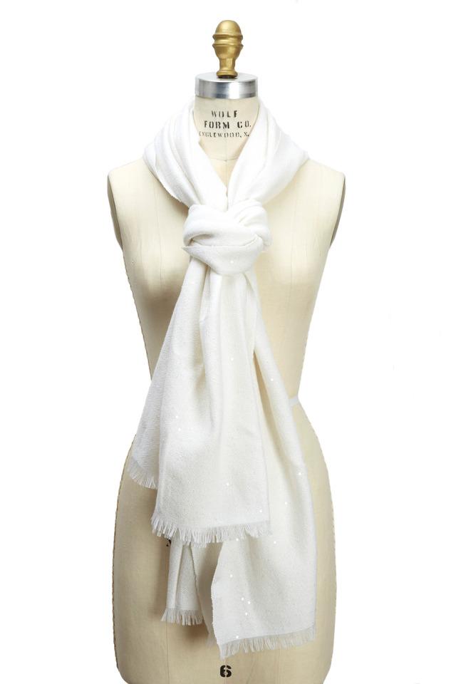 White Cashmere & Silk Pailette Scarf