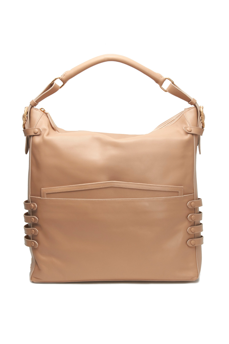 Farida Nude Leather Hobo Bag