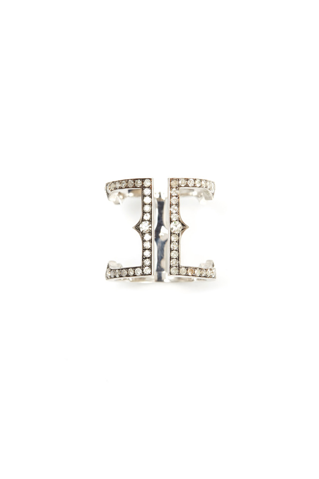 White Gold Diamond Cage Ring