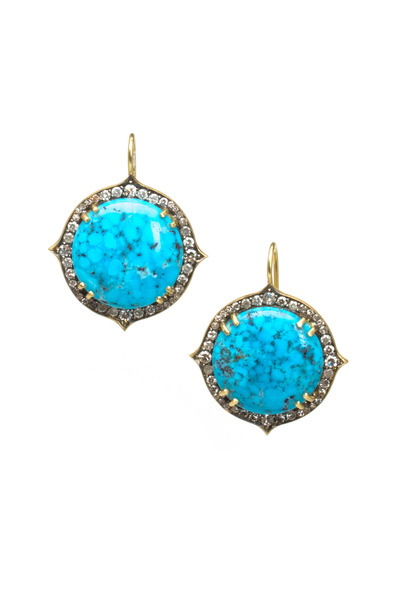 Sylva & Cie - Gold Kingsman Turquoise Diamond Earrings