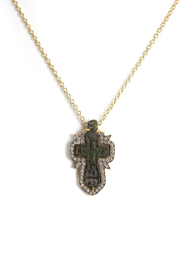 Russian Icon Bronze Cross Necklace