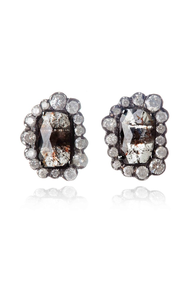 Diamond & Irregular Diamond Stud Earrings