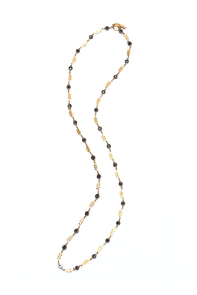 Sylva & Cie - Gold & Silver Black Diamond Feather Necklace