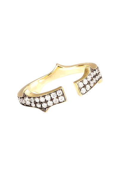 Sylva & Cie - Yellow Gold White Diamond Split Thorn Ring
