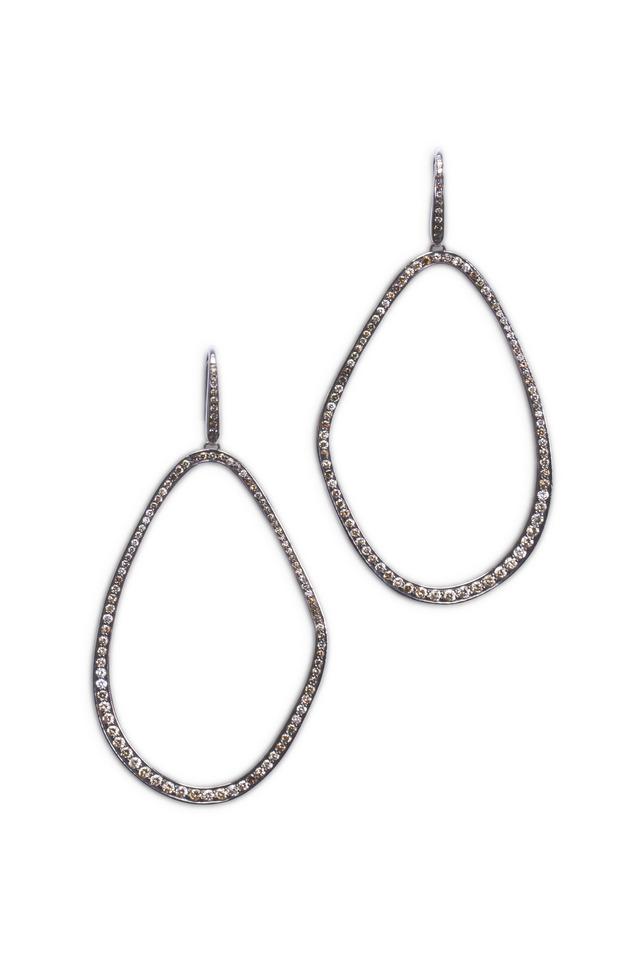 White Gold & Brown Diamonds Freeform Hoops