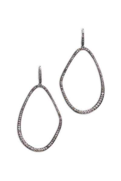 Kimberly McDonald - White Gold & Brown Diamonds Freeform Hoops
