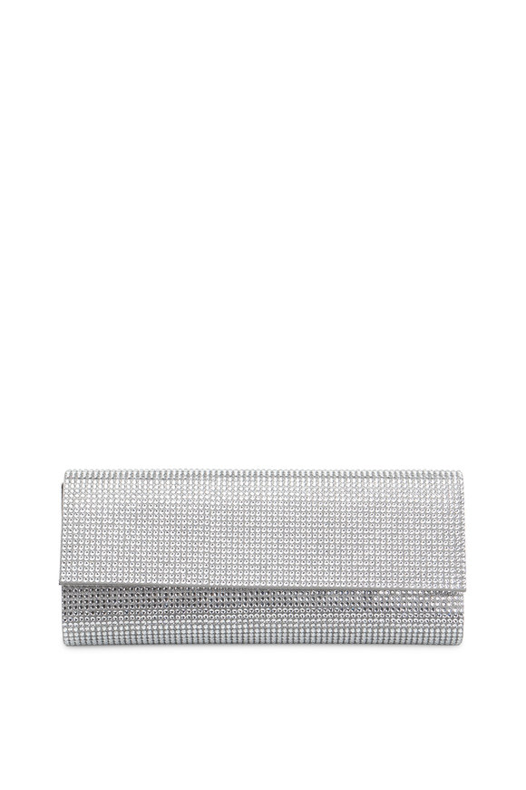 Judith Leiber Silver Crystal Flap Front Clutch