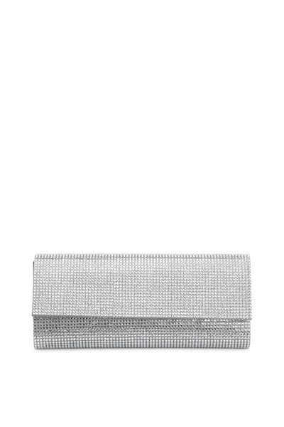 Judith Leiber - Silver Crystal Flap Front Clutch