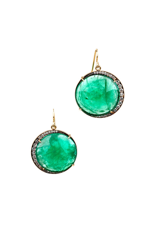 Sylva & Cie 18K Yellow Gold Emerald & Diamond Moon Earrings