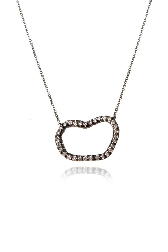 White Gold Rhodium Diamond Geode Pendant Necklace