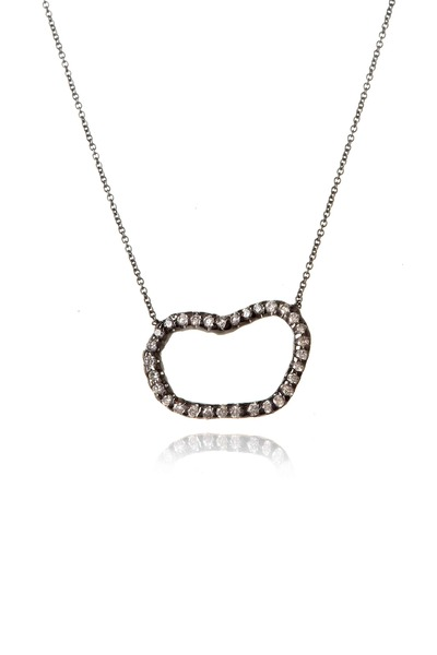 Kimberly McDonald - White Gold Rhodium Diamond Geode Pendant Necklace