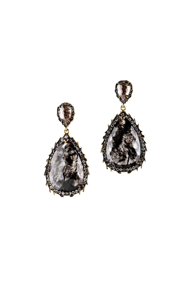 Gold & Silver Rough Diamond Earrings