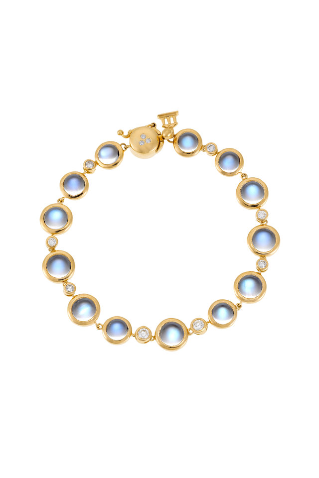 18K Yellow Gold Round Moonstone & Diamond Bracelet