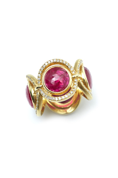 Sylva & Cie - Yellow Gold Ruby Diamond Ring
