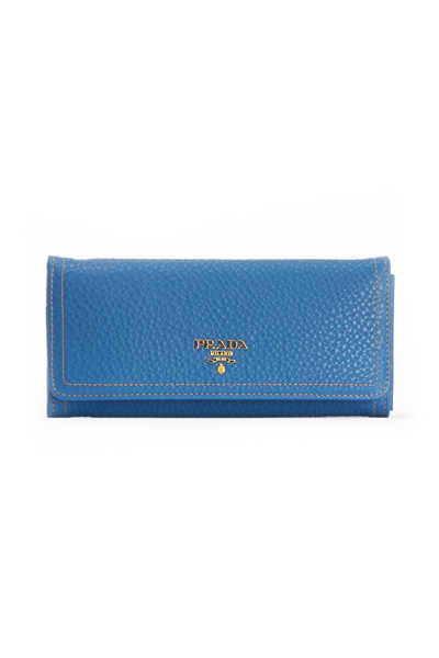 Prada - Cobalt Leather Flap Snap Close Wallet