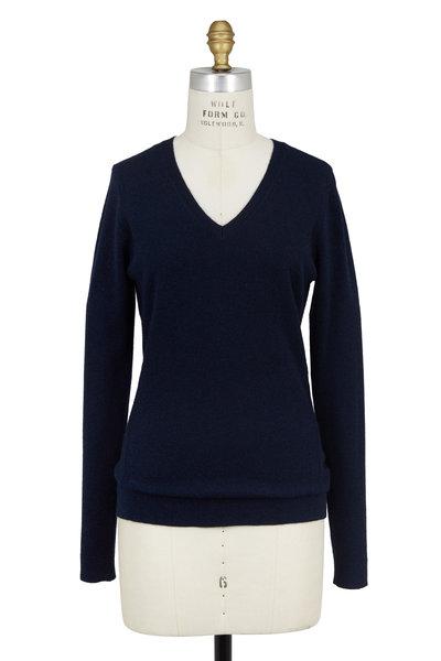 Kinross - Navy Blue Cashmere Wrap Seam V-Neck Sweater