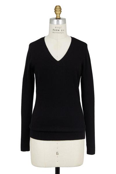 Kinross - Black Cashmere Wrap Seam V-Neck Sweater