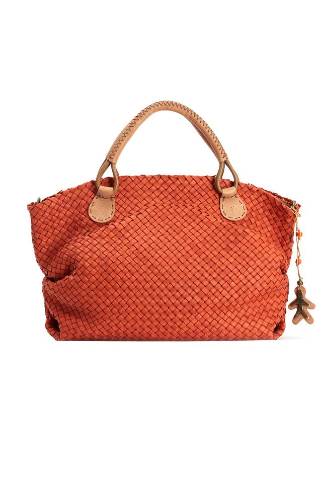 Orange Woven East West Top Zip Handbag