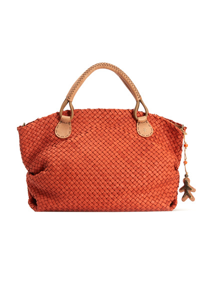 Henry Beguelin - Orange Woven East West Top Zip Handbag