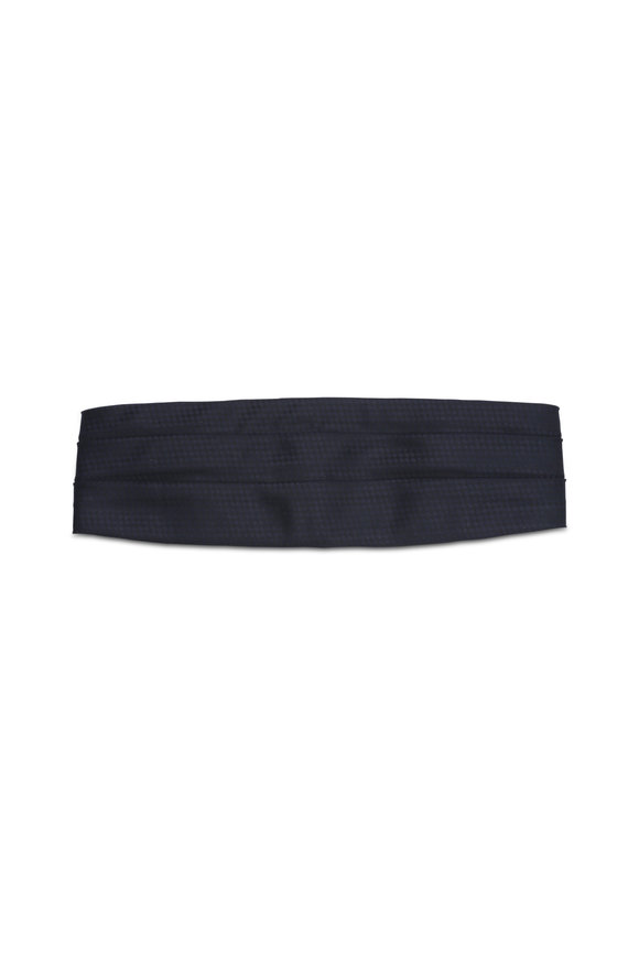 Brenda Kett Black & Navy Blue Diamond Silk Cummerbund