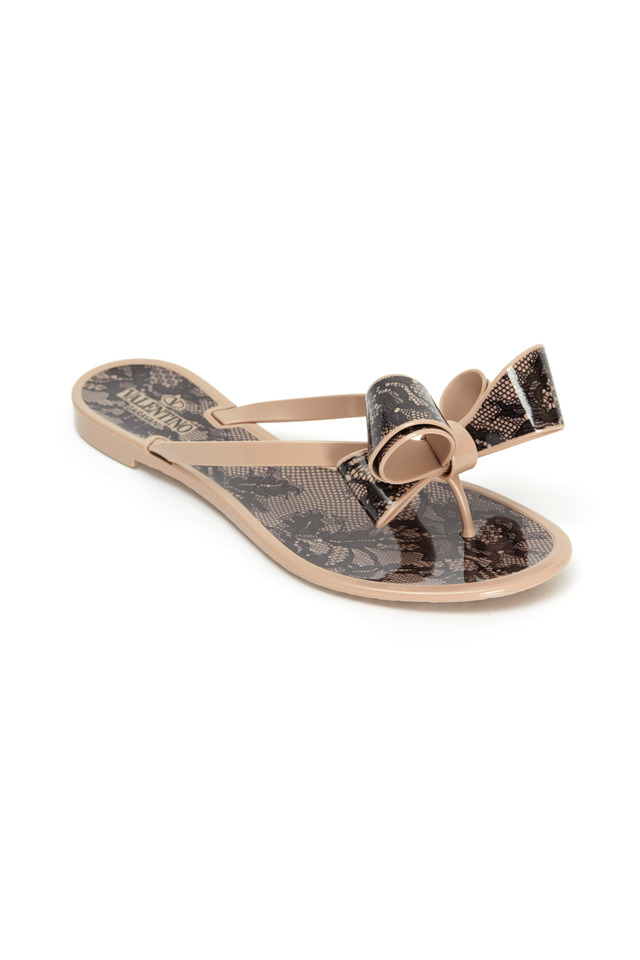 Bow Beige & Black Lace Jelly Thong Sandals