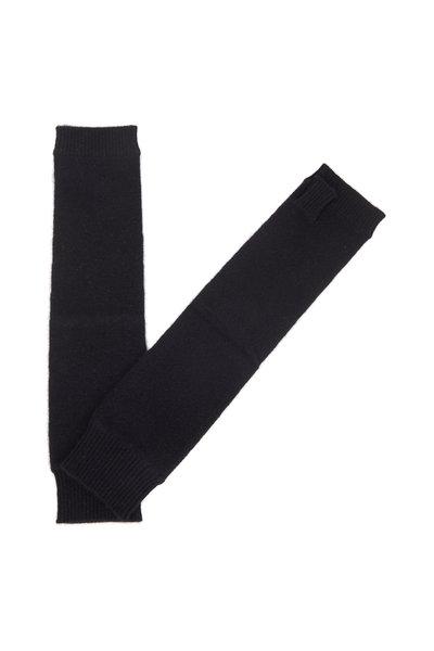Kinross - Black Cashmere Fingerless Mid-Arm Gloves