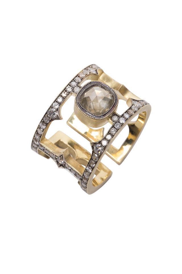 Yellow Gold Rough & White Diamond Cage Ring