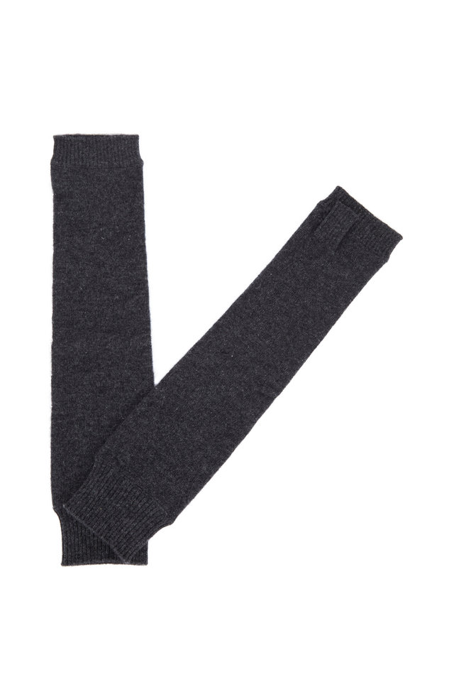 Charcoal Gray Cashmere Fingerless Mid-Arm Gloves