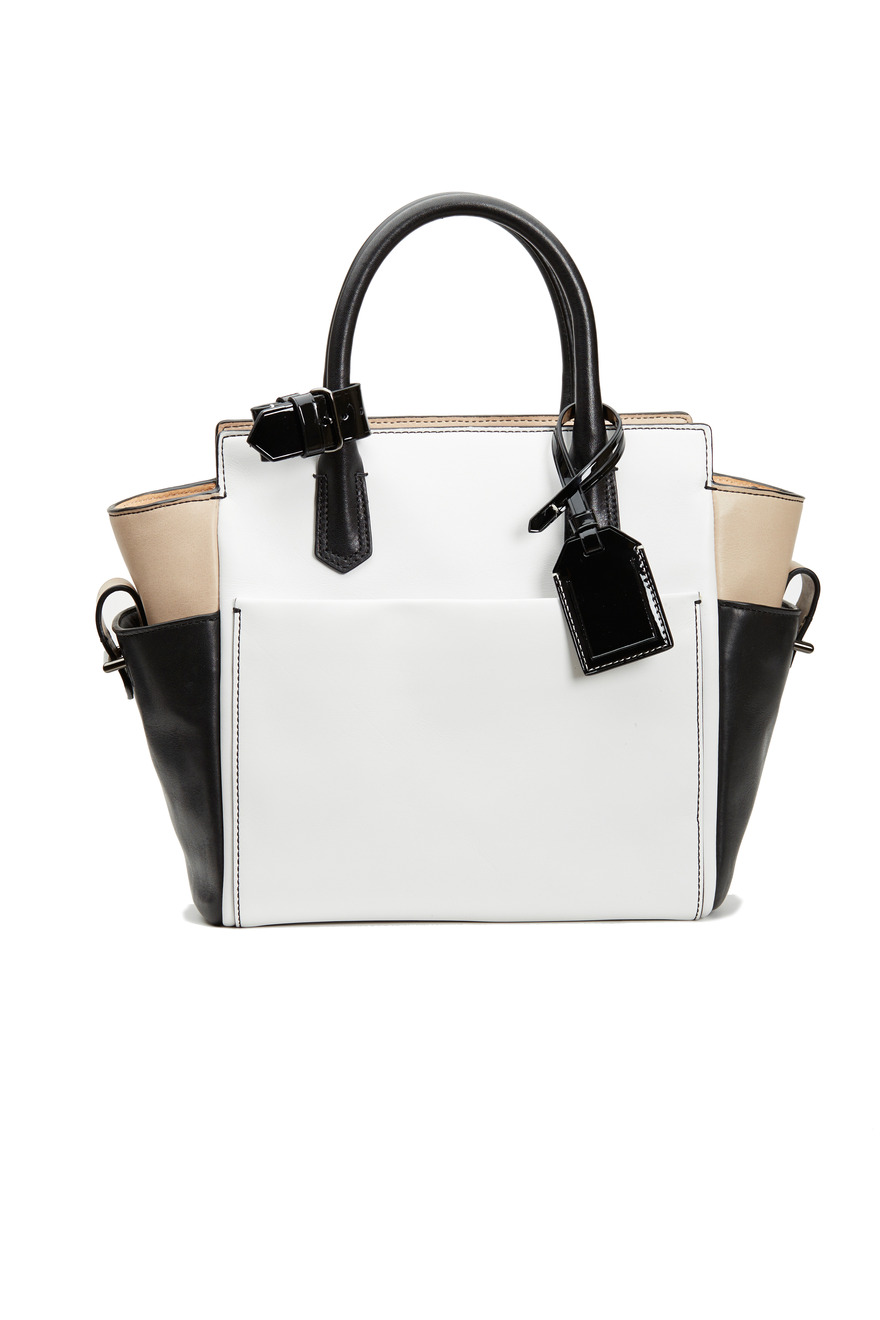 Black, White And Nude Leather Handbag